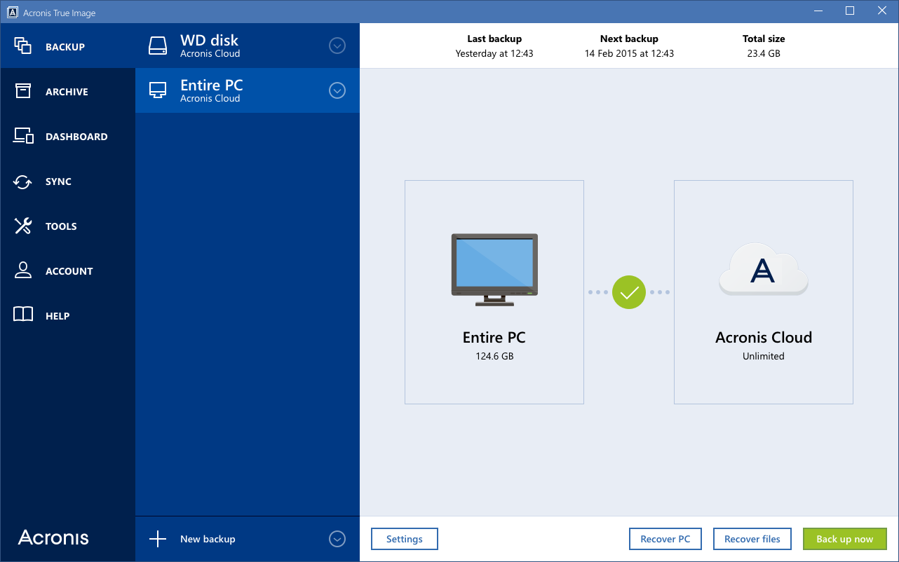 Windows 7 Acronis True Image Cloud 2.6571 full